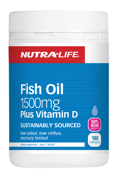 Nutra life omega fish oil 1500mg vitamin d essential fatty for Vitamin d fish